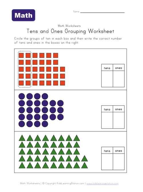 Year 1 - tens & ones grouping worksheet | Representing numbers in ...