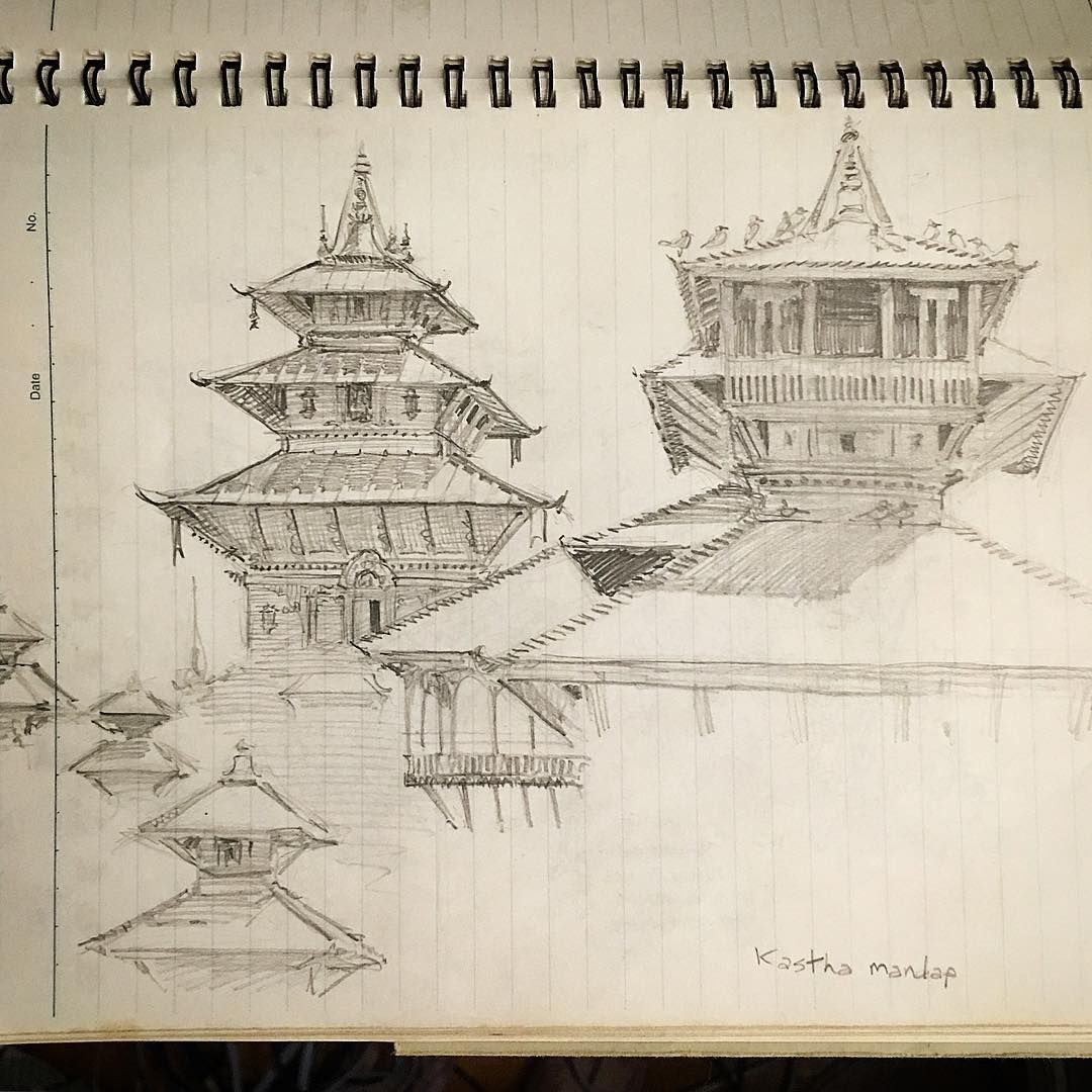 Pencil sketch i made years ago at kasthamandap temple in nepal