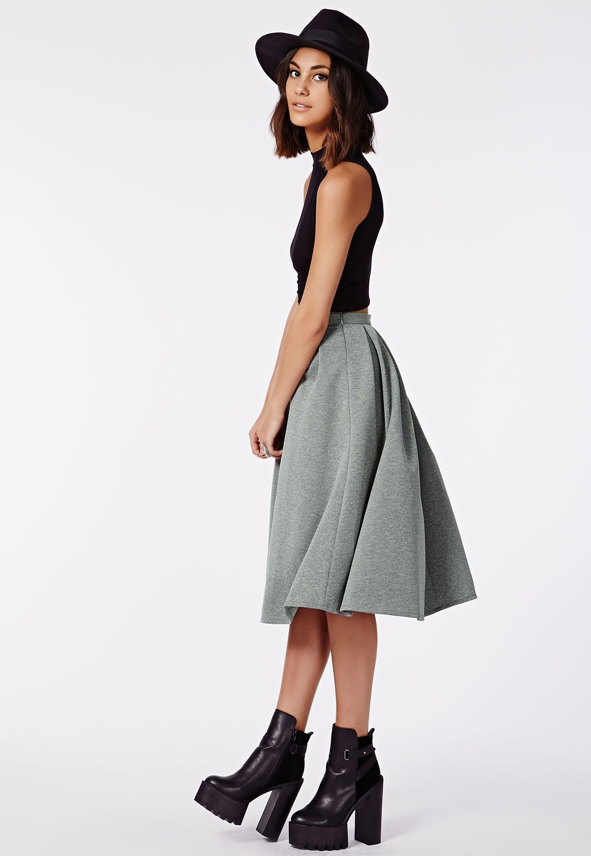 Missguided - Auberta Pleated Midi Skirt Grey | Black and White ...