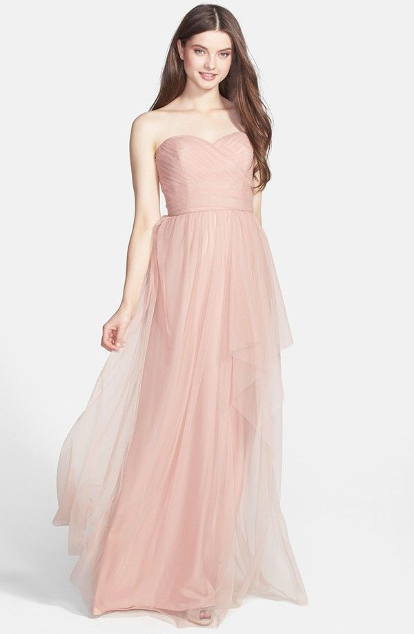 Amsale Draped Tulle Gown | Blush Pink Bridesmaids | Pinterest