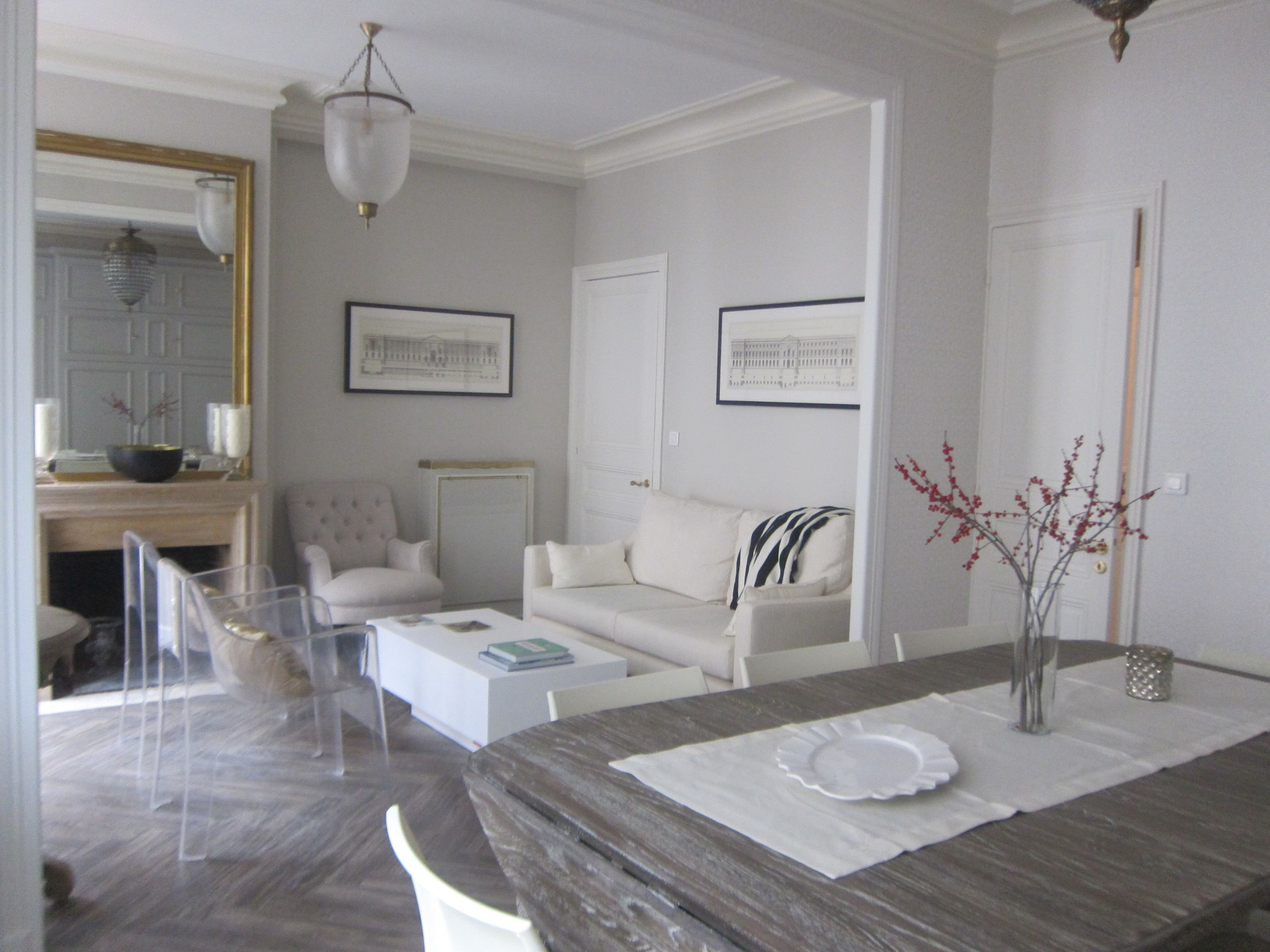 Small Paris apartment Living dining room Grey with gold