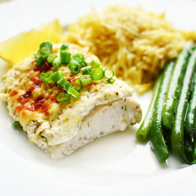 Baked Fish With Dill Sour Cream Topping Picture The Recipe Baked Fish Recipes Seafood Recipes
