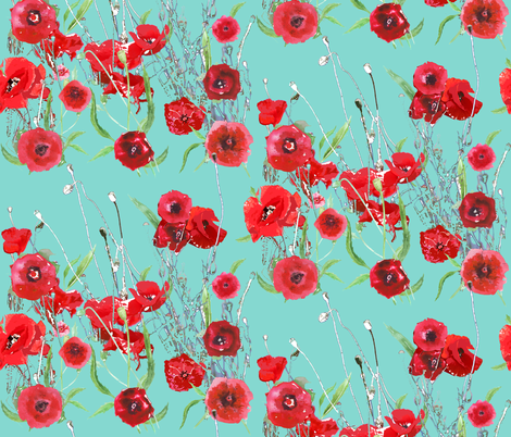 Poppy Field In Teal Via Likeflowersandbutterflies Blogspot Nl