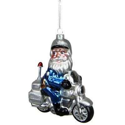 Northlight Glass Santa Policeman Riding Motorcycle Christmas