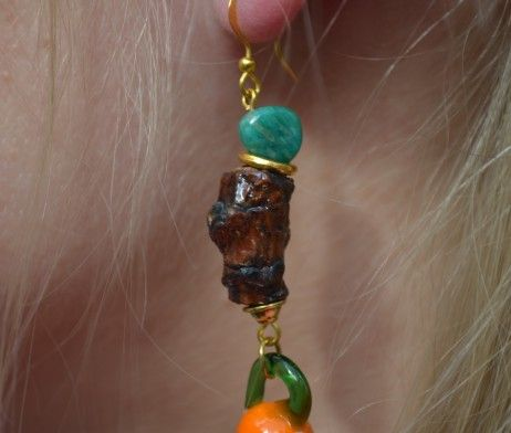"EARRINGS ""BACK TO ROOTS""  Materials used: Russian amazonite, wood, lamp work glass"
