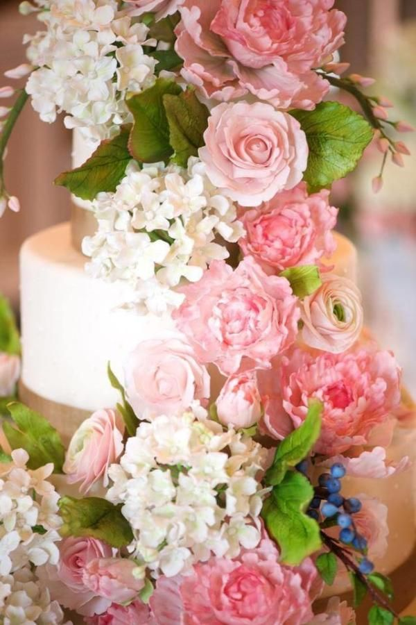Navy and Pink Sugar Flower Wedding Cakes
