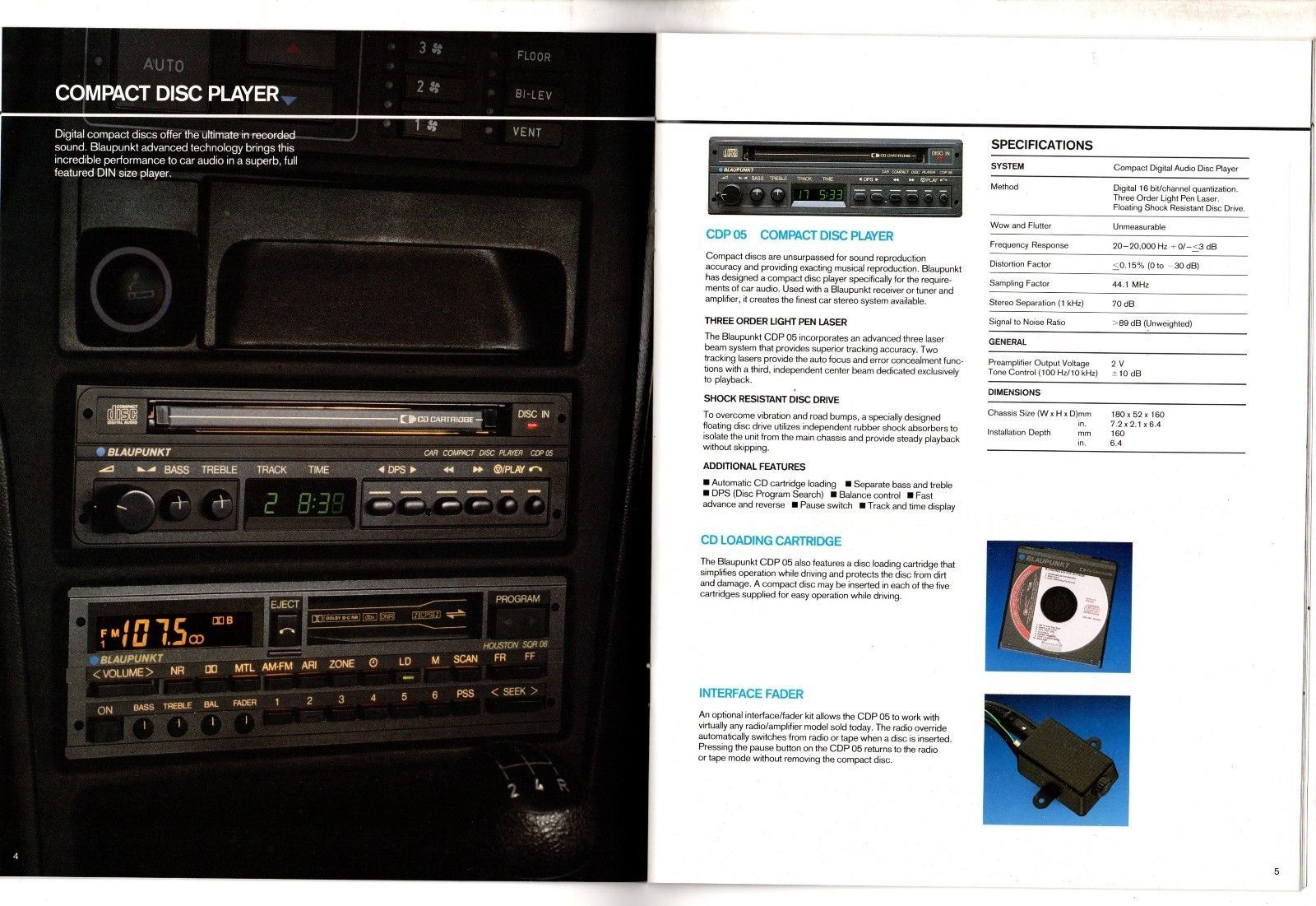 Vintage 80 S Blaupunkt Car Audio Brochure Cdp 05 Berlin Sqr 83 Houston Sqr 06 Auto