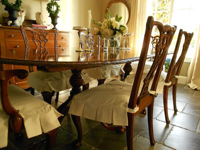 Room · My Faux French Chateau: Custom Monogrammed Dining Room Chair  Slipcovers!