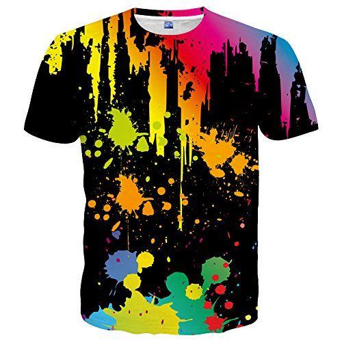 EOWJEED Unisex Casual 3D Pattern Gedruckt Kurzarm T-Shirts Top Tees ... 124a63ac15