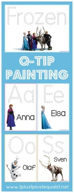 Frozen Q-Tip Painting Printables {free} from @{1plus1plus1} Carisa