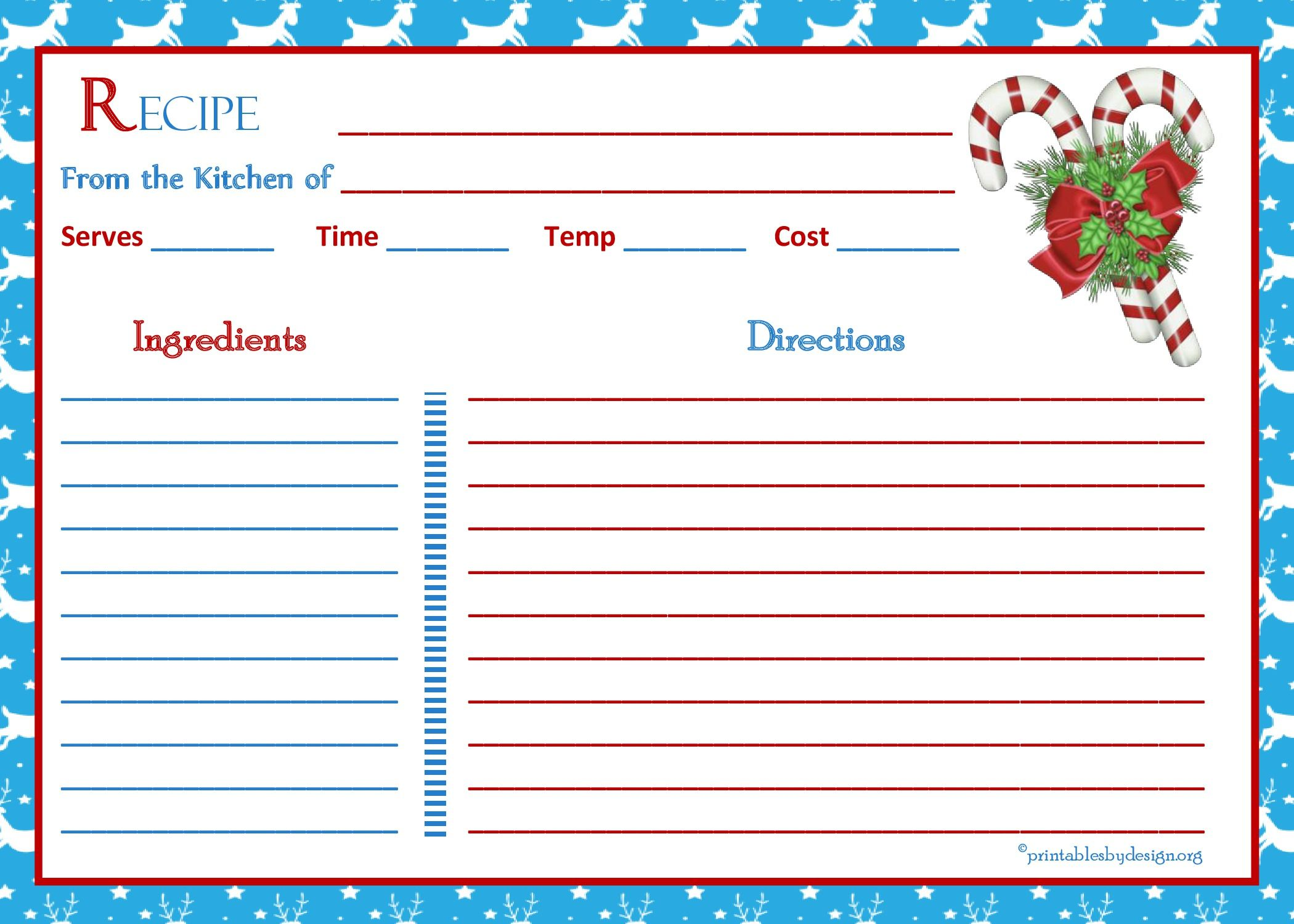 White Reindeer Background Recipe Card 5x7 Christmas Recipe Cards Recipe Cards Recipe Book