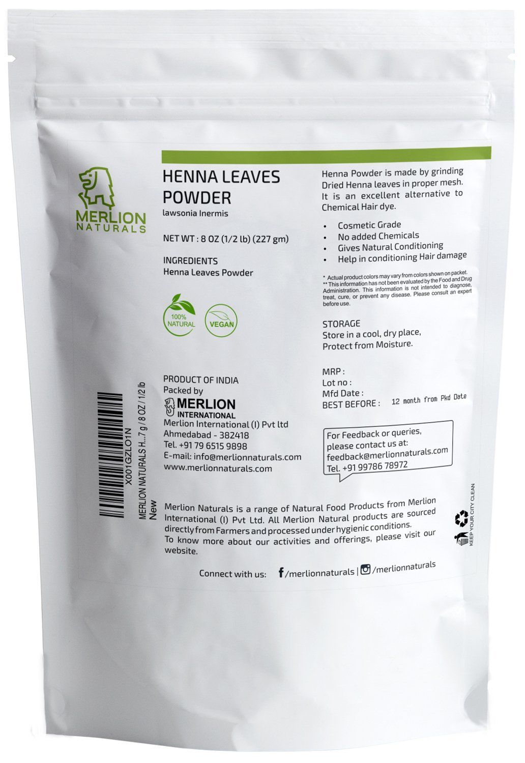Henna Leaves Powder By Merlion Naturals Lawsonia Inermis 227 G