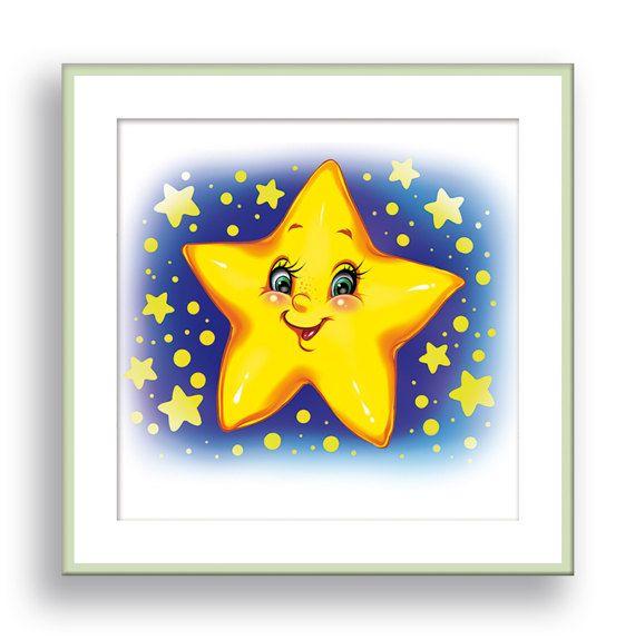 Star Nursery Wall Decor Baby Wall Art Yellow Star Art Kids Bedroom ...