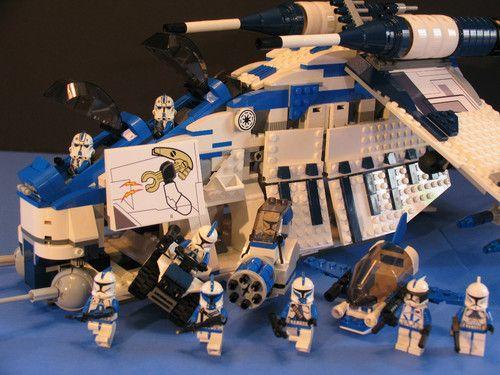 lego brick star wars custom clone wars 501st legion blue republic gunship figs kinderzimmer. Black Bedroom Furniture Sets. Home Design Ideas