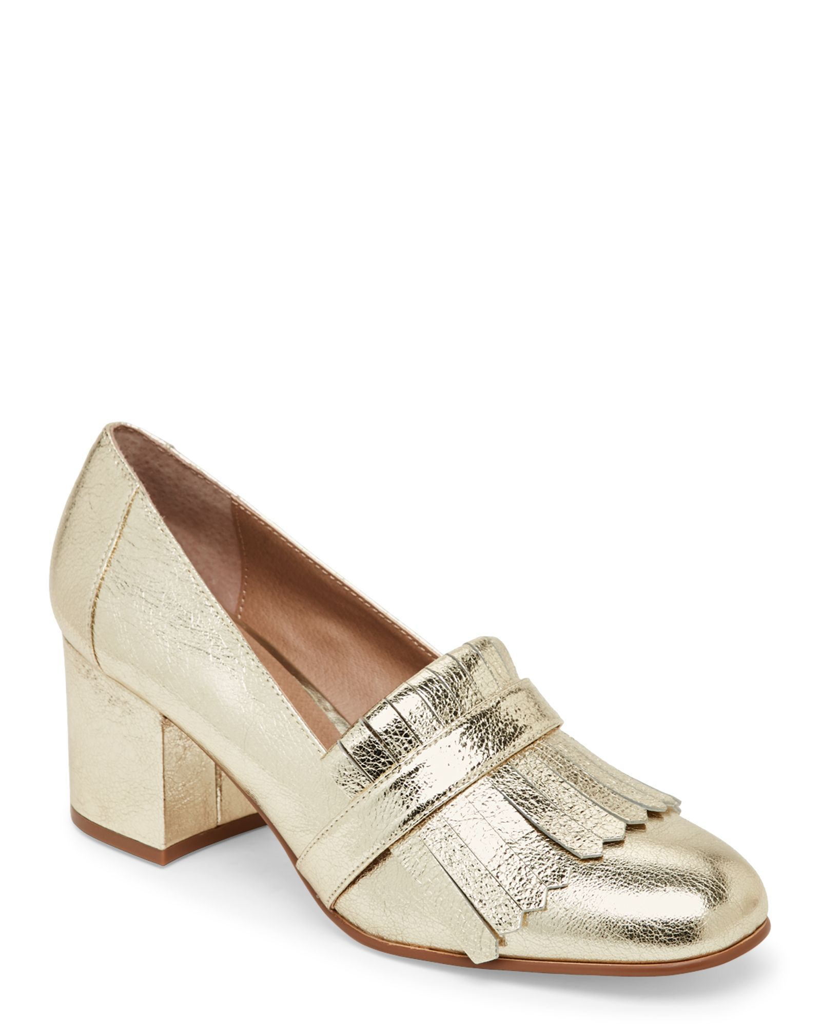 7eeec925135 Steve Madden Gold Kate Kiltie Loafer Pumps