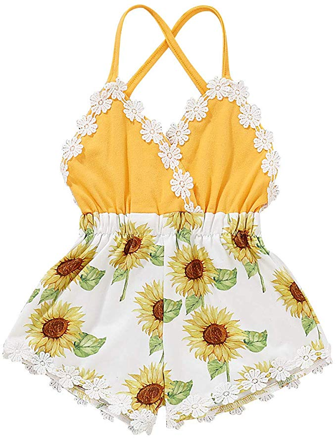 Headband Clothes Set Outfit YOUNGER TREE 3PCS Toddler Baby Girls Summer Clothes Ruffle T-Shirt Floral Pants