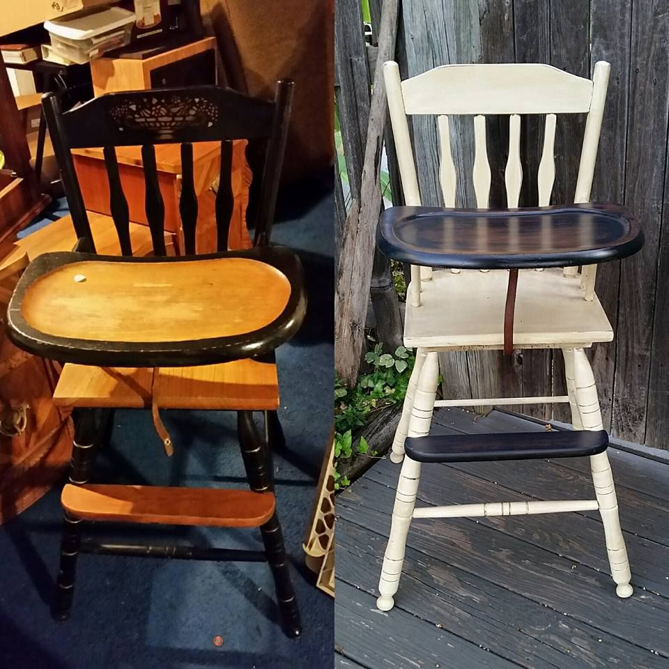 Antique high chair has been breathed new life! crookedoar