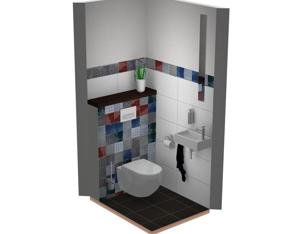 Bijzondere tegels patroon met veel kleur in toilet tegels