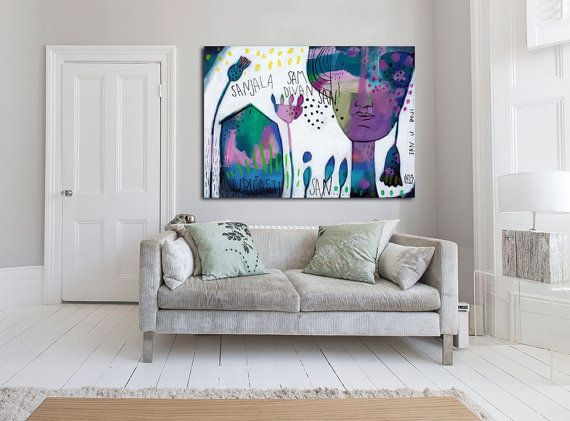violet blue ABSTRACT print GICLÉE print pink white von MirnaSisul