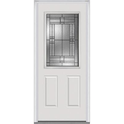 Mmi Door 32 In X 80 In Roman Right Hand Inswing 1 2 Lite Decorative 2 Panel Primed Fiberglass Smooth Prehung Front Door Z021403r The Home Depot Mmi Door Front Door Steel Front Door