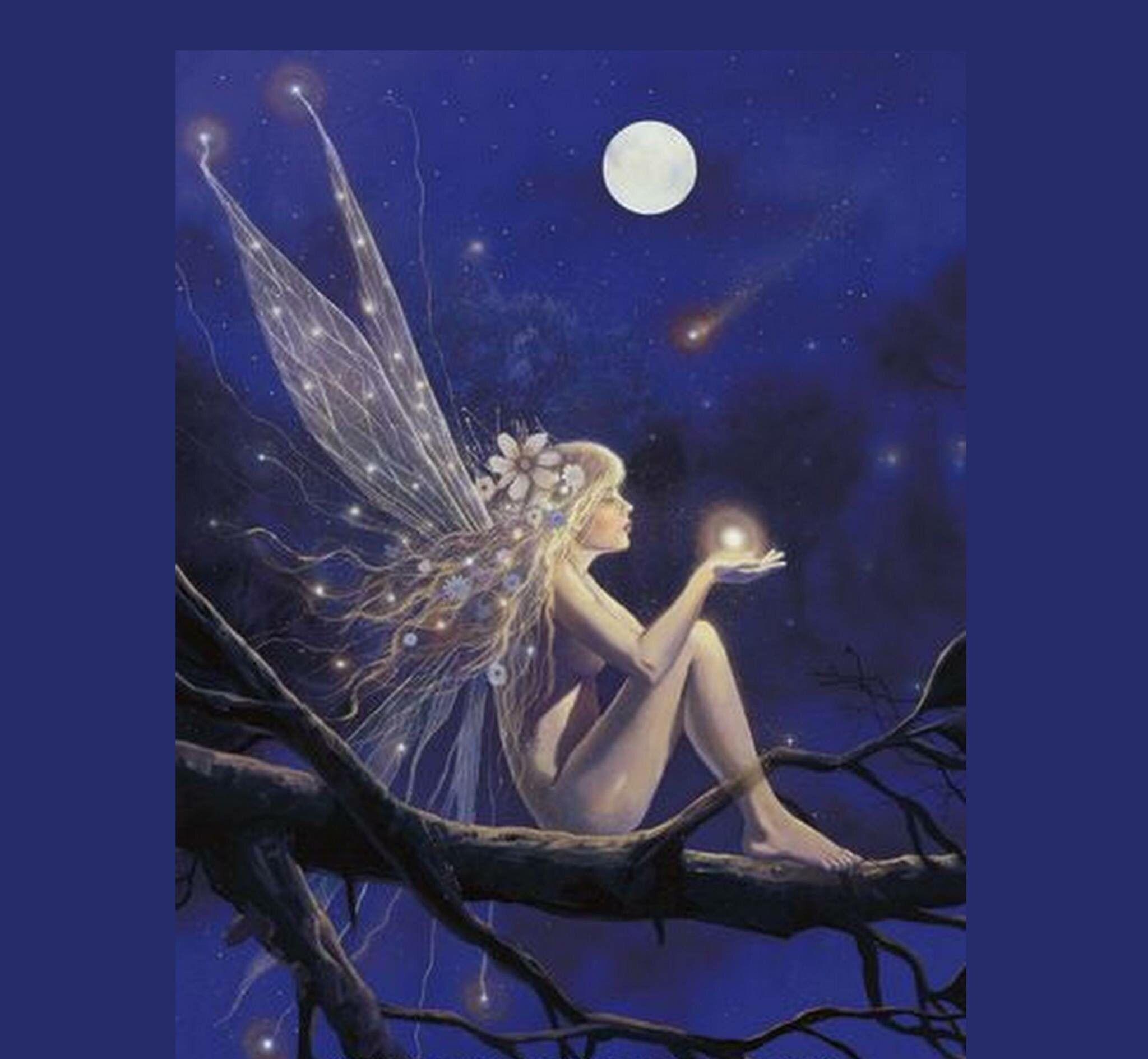 Fairy Sitting On A Tree Branch Holding A Light Orb Fairy Art