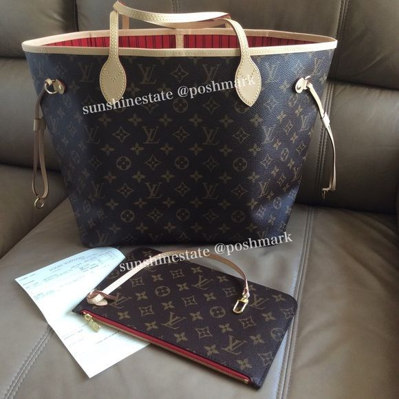 c1553a71a37 NEW 2016 LV Neverfull Pochette Pouch w Receipt! Selling only the ...