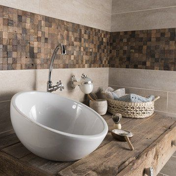 Carrelage sol et mur beige, Taiga l.15 x L.90 cm | salles de bain ...