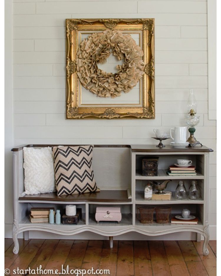 Such a cute idea. Can make it a larger bench just by cutting the entire top two drawer sections all the way across.