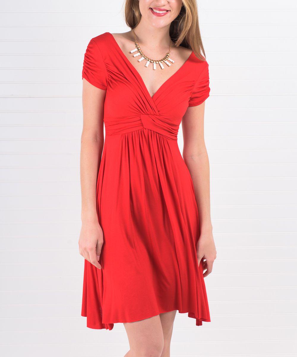 Red twistfront empirewaist dress products pinterest products