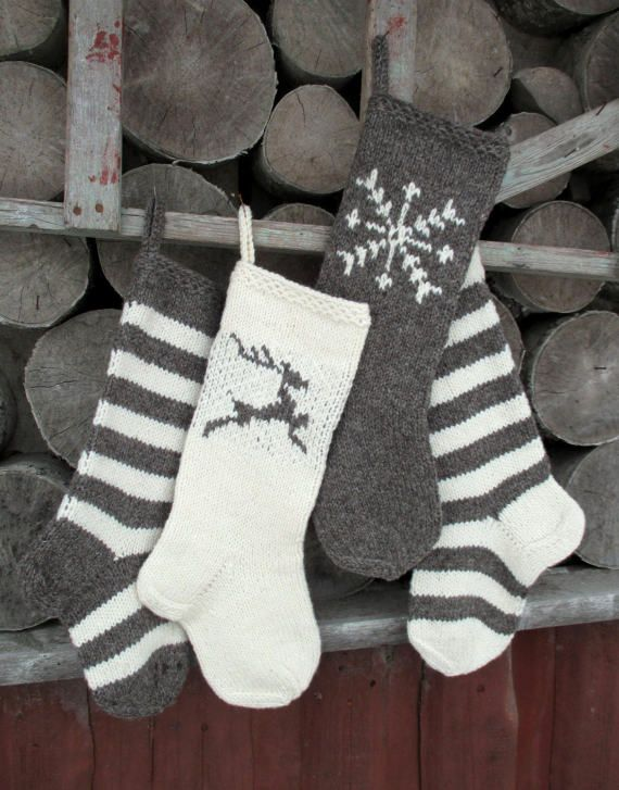 christmas stocking hand knit wool personalized dark gray purple and white with deer snowflakes stripes ornaments