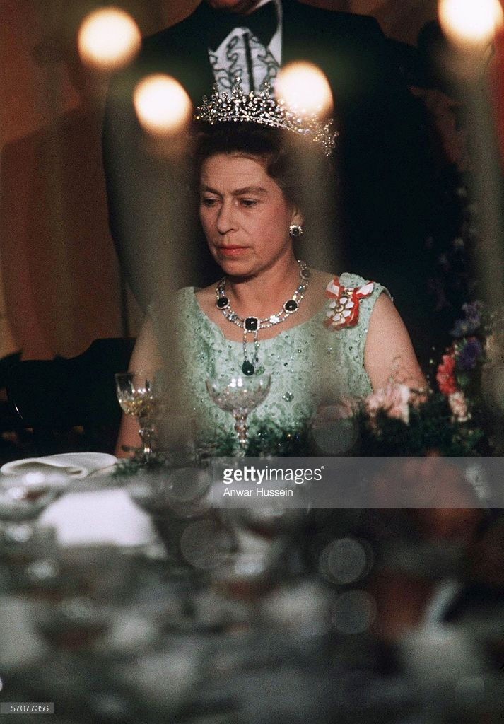 Queen Elizabeth II attends a State Banquet during her silver jubilee on October 17, 1977 in Quebec, Canada.