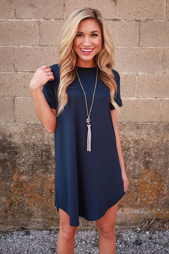416b6a8ade9 Take A Chance T-Shirt Dress in Navy