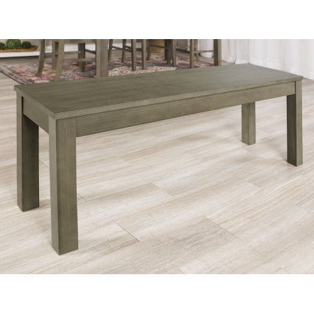 48 Inch Simple Wood Dining Bench   Aged Grey (Multiple Colors Available)