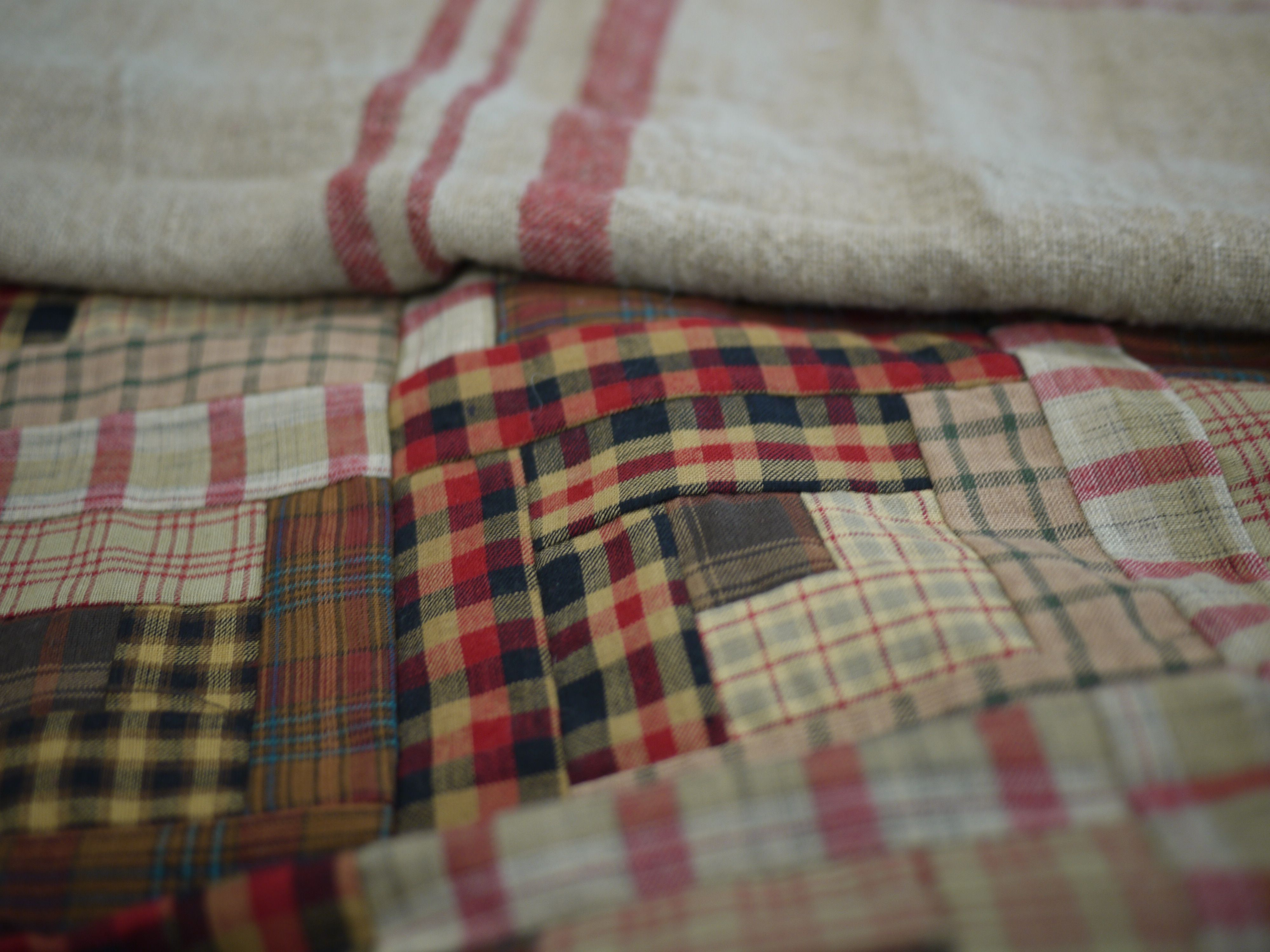 log cabin quilt and french linen textile