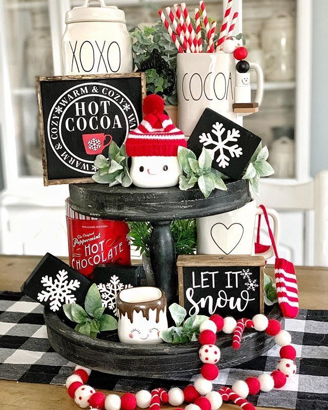 Holiday Center Pieces Christms  #tieredtraydecor
