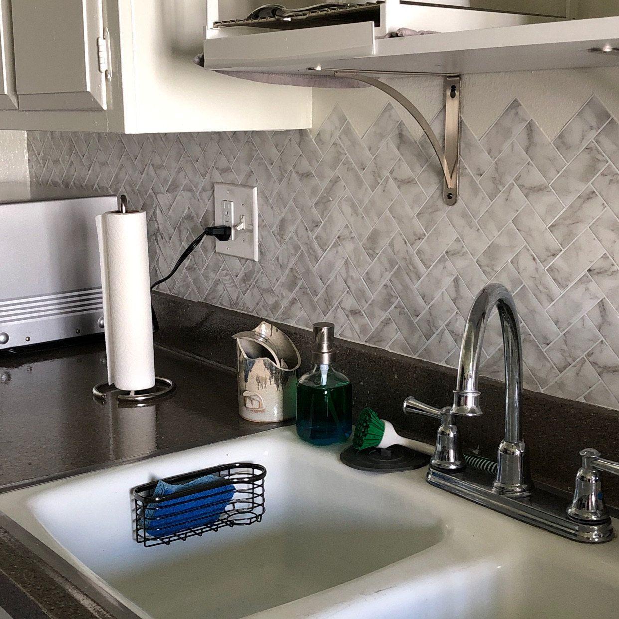 Wallpops Herringbone Carrara Marble Farmhouse Peel and