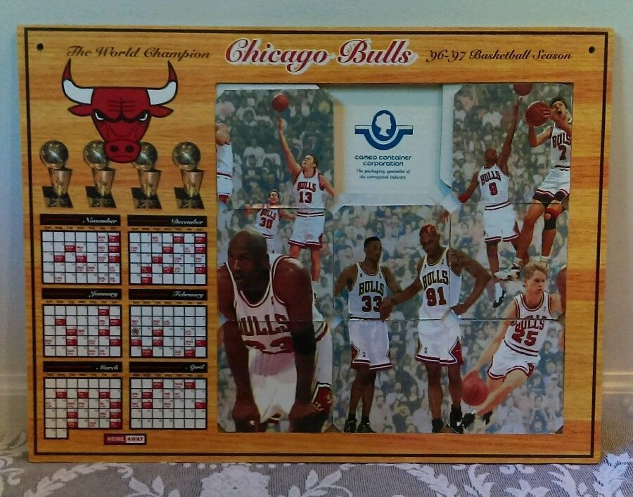 1996 97 Chicago Bulls Un Stop A Taking Fifth Schedule Cameo LARGE Puzzle ChicagoBulls