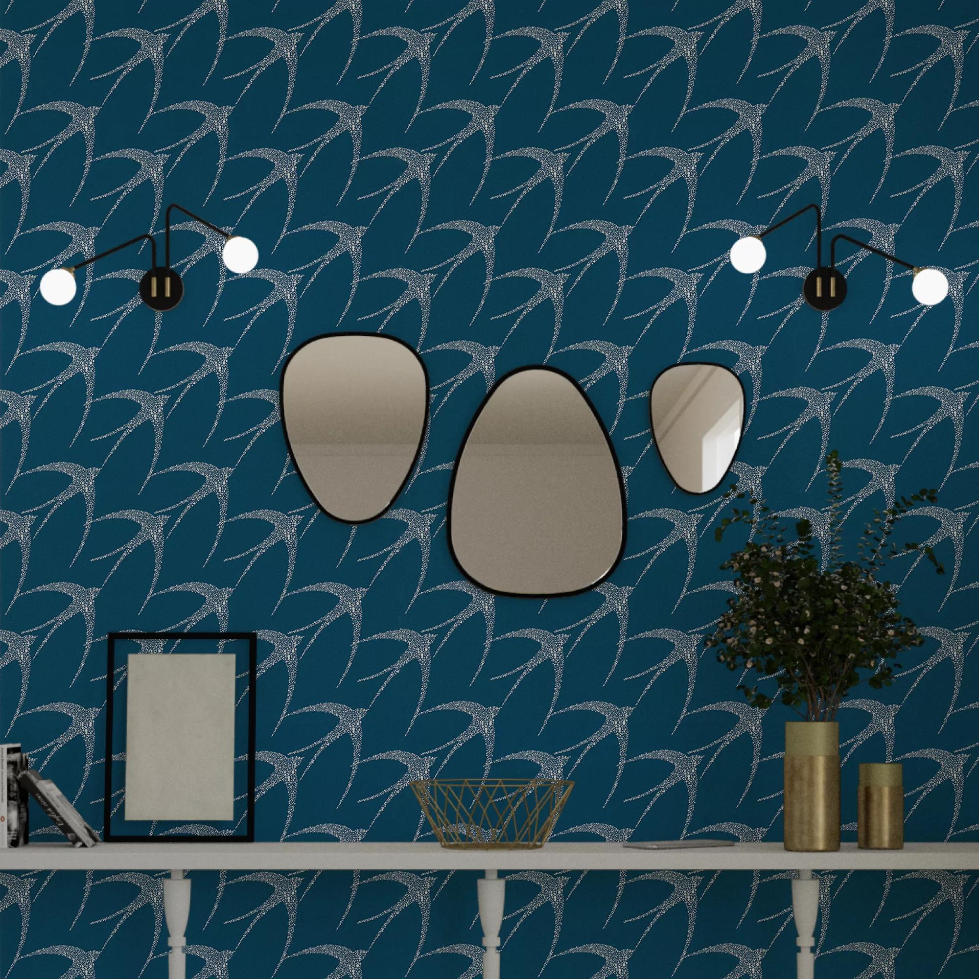 Papier peint intissé PRIMAVERA coloris bleu baltique  Papier