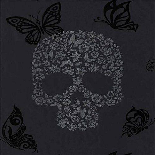 Black Silver J21809 Skulls Tattoo Butterflies Flowers Muriva Wallpaper Amazon Co Uk Kitchen Skull Wallpaper Glitter Wallpaper Skull Tattoo Flowers