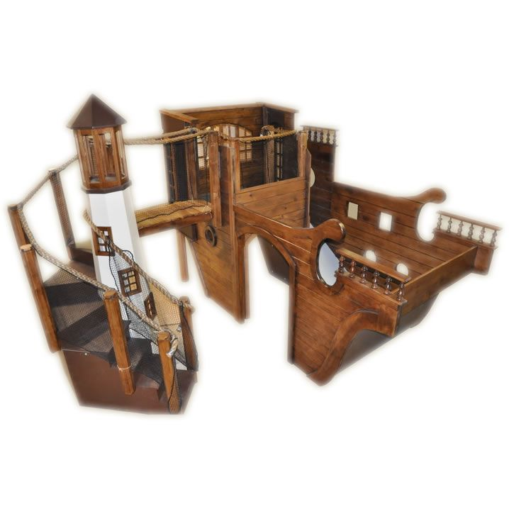 Indoor Pirate Ship Playhouse With Lighthouse Slide Climbing