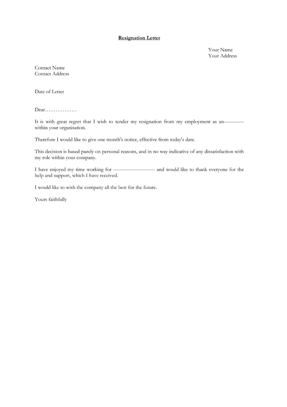 A Resignation Letter Examples from i.pinimg.com