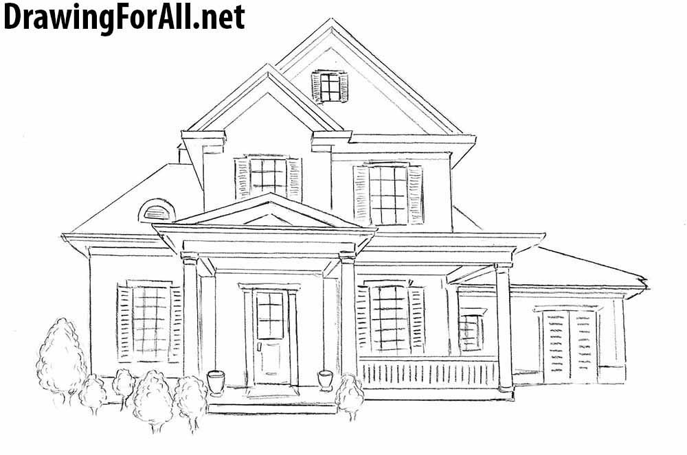 How to Draw a House for Beginners House sketch Drawing