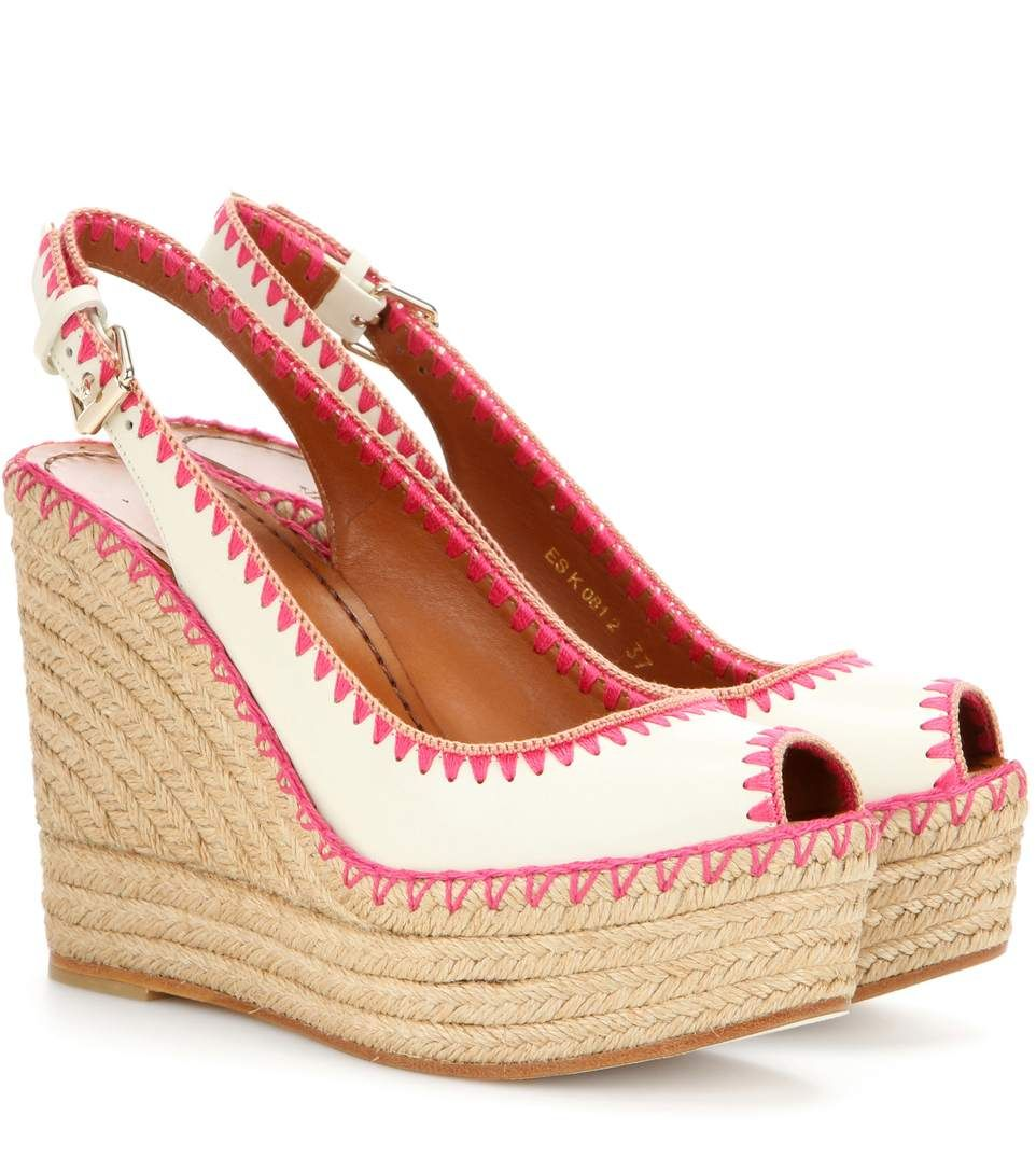 de6d0bd65d0 Valentino - Leather peep-toe espadrille wedge sandals - A sizeable wedge  lifts the peep-toe design