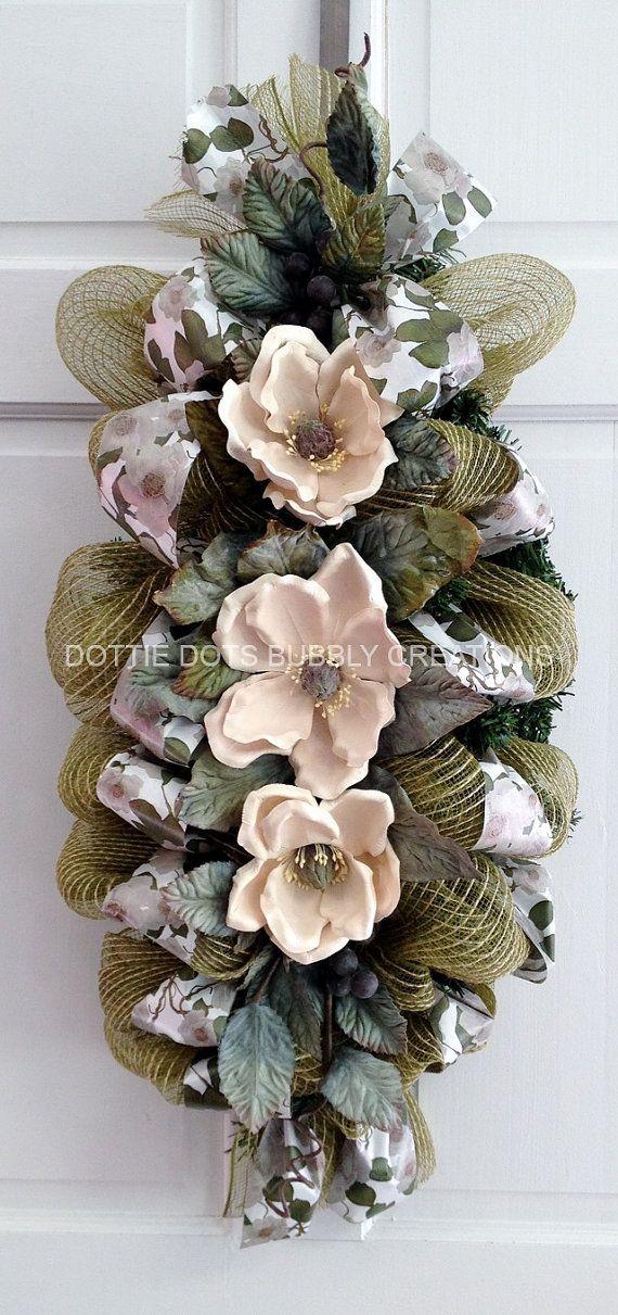 Olive Jute Burlap Magnolia Door Wall Table Mesh Swag