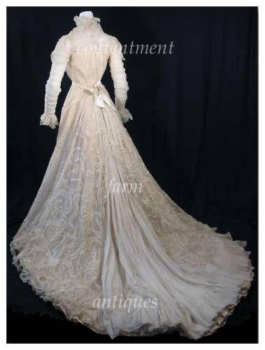 pictures of vintage clothing   Vintage Battenburg Lace Trained Dress ...