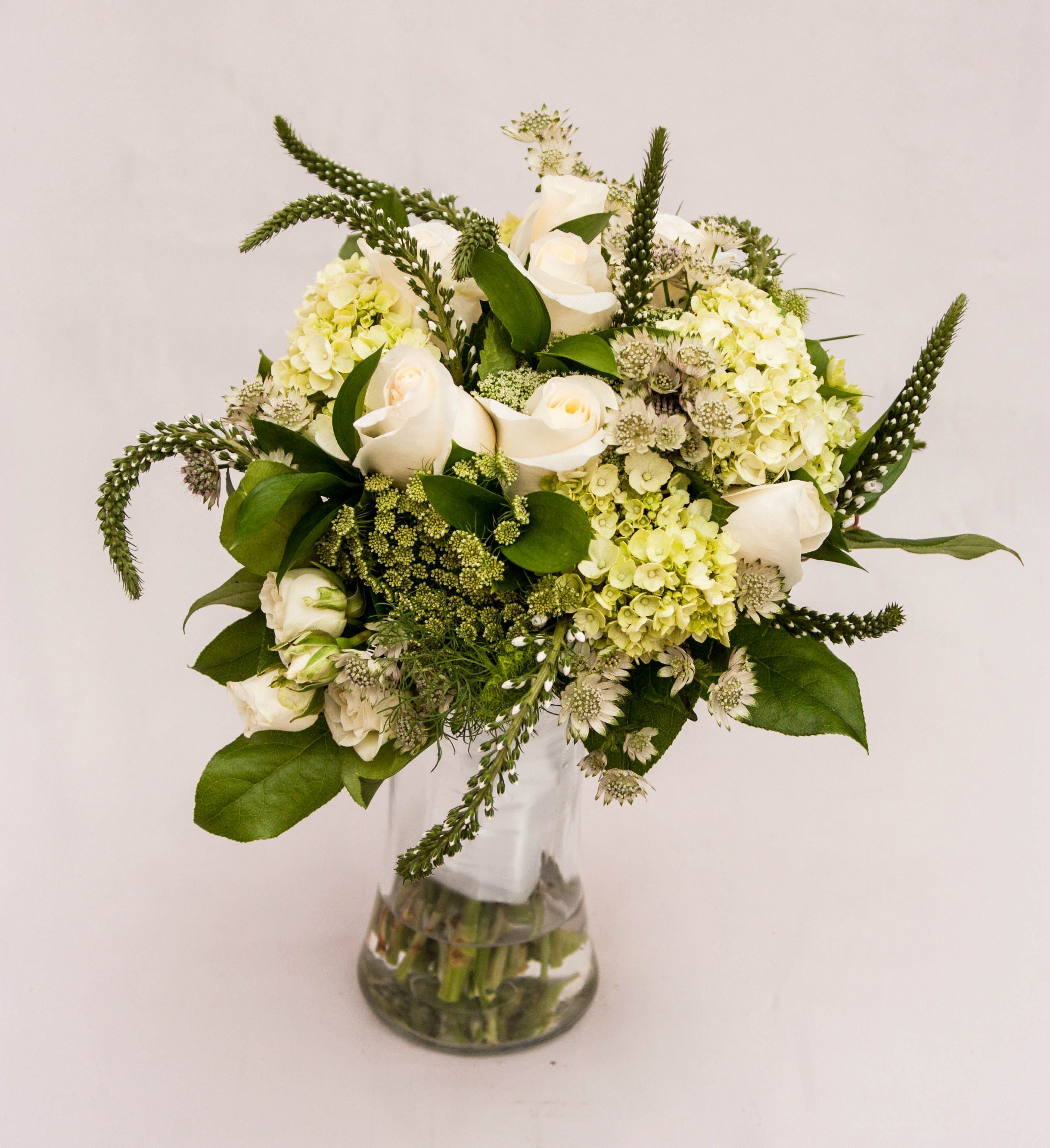 Bridal Bouquet With Roses Spray Hydrangea Queen Anne S Lace Scabiosa Veronica And Lemon Leaf Countryside Flower Nursery Crystal Lake Il
