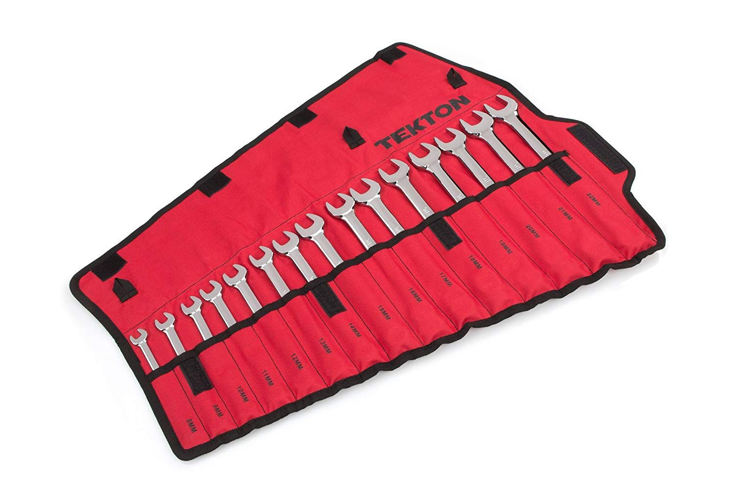 TEKTON Combination Wrench Set with Rollup Storage Pouch