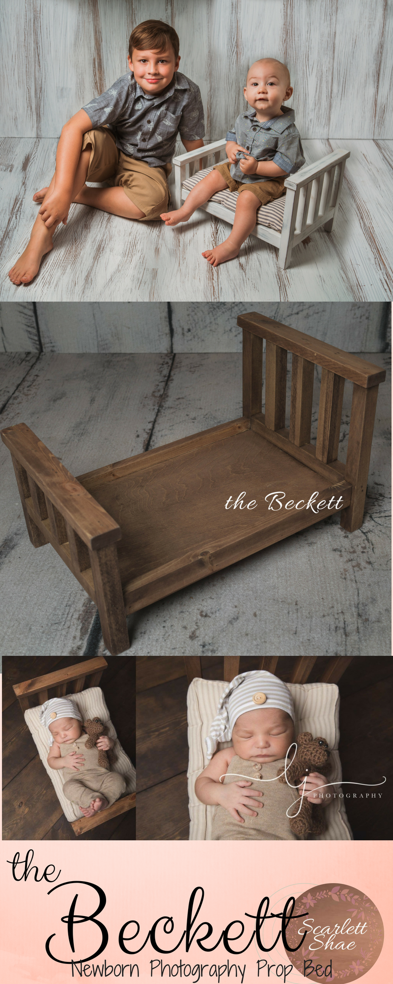 Newborn Baby Photography Handmade Wooden Bed Props Infant Bebe Fotografia Accessories Baby Boy Girl Photo Shoot Studio Bed Props Professional Design Boys' Baby Clothing