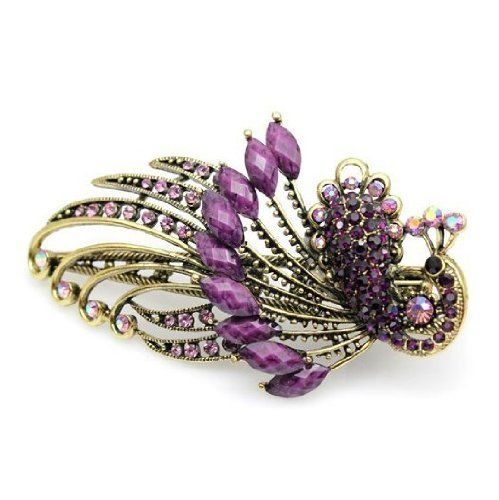 Click Down 1pcs Lovely Vintage Jewelry Rhinestone Peacock Hair Clips-3 * You can get additional details at the image link.