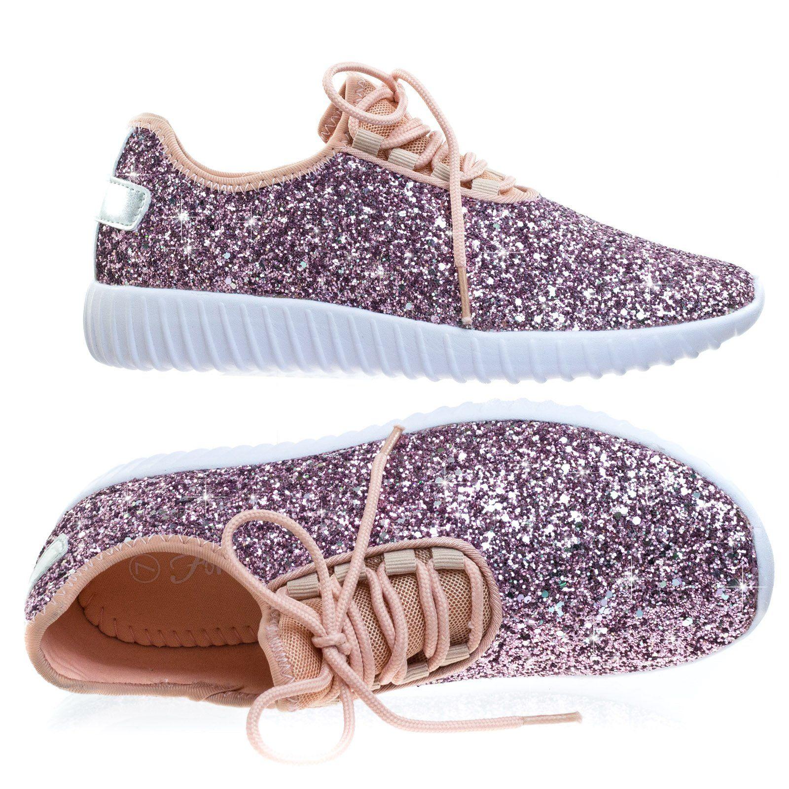 Lace up Rock Glitter Fashion Sneaker